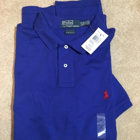 Men's Polo short sleeve shirt, Royal Blue, Size XL